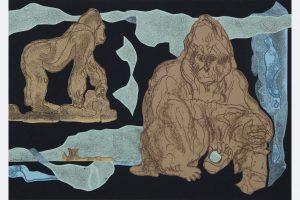 """Elena Schoch, """"Im Glaskasten"""" ( aus der Serie """"Menschenaffenhaus""""), 2021, Mixmedia auf Papier, 30x 42 cm"""