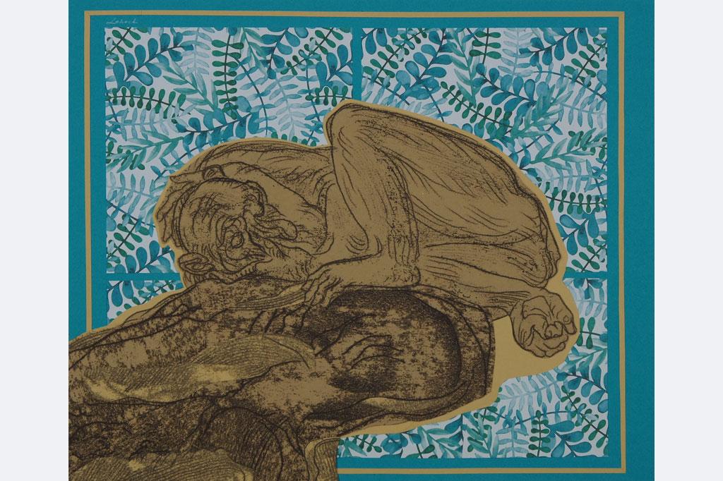 """Elena Schoch, """"Affentraum"""" ( aus der Serie """"Menschenaffenhaus""""), 2021, Mixmedia auf Papier, 30x 35 cm"""