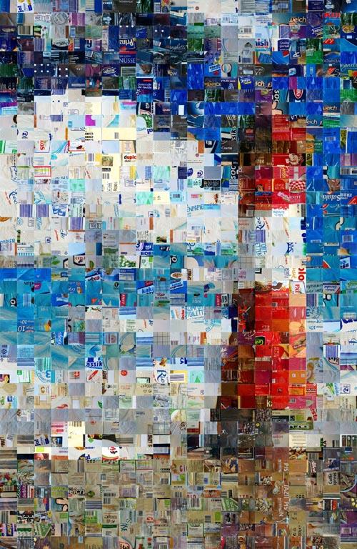 Schöne Aussichten, 2018, Mosaikpixelbild aus Kunststoffabfällen des Dualen Systems, Neuenburger Kunstwoche
