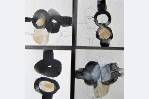 """Ursula Sihler-Steidl, """"Spielerei x 4"""", Aquarell/Gafit, je 15x15 cm, zusammen 250 €, 015144570392"""