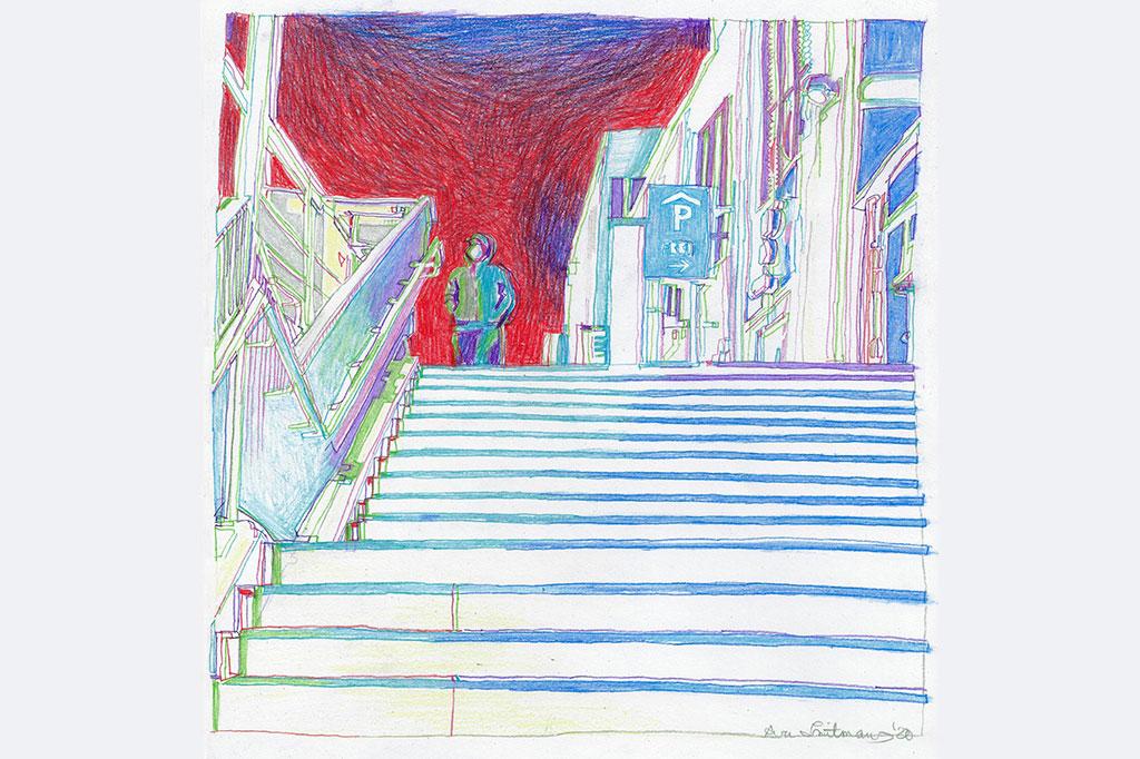"""Ava Smitmans """"Corona 1 (Bedrohung)"""", Buntstift auf Papier, ca. 25 x 25 cm, 2020 aus der Reihe """"Corona"""", entstanden während des 1. Lockdowns im Frühjahr 2020"""