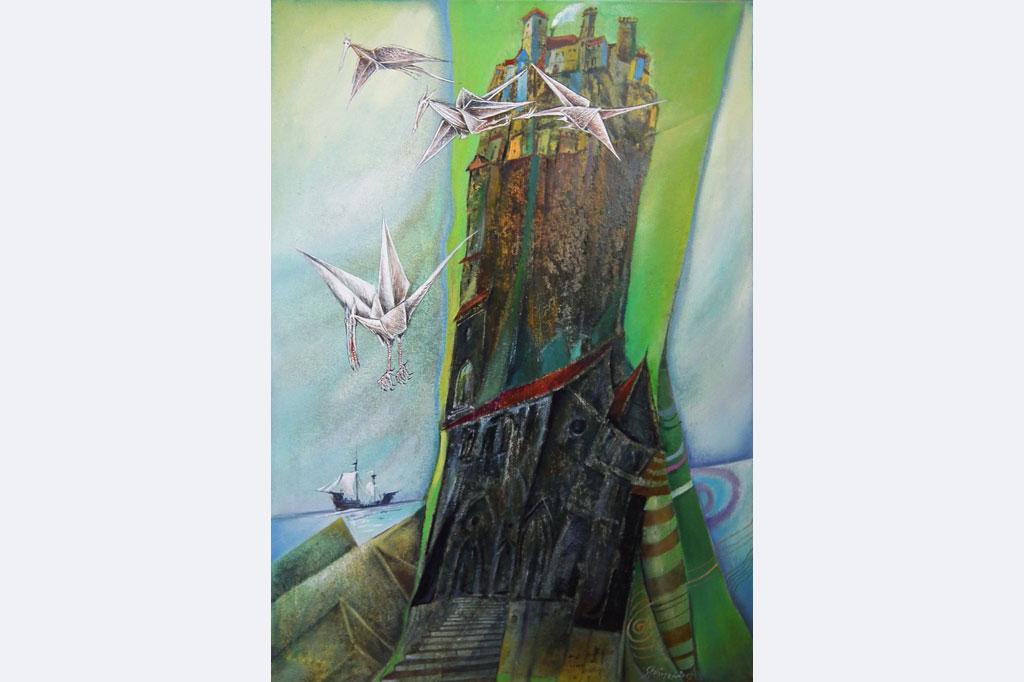 """Wolfgang Steiner, """"Die Drachenburg"""" 50 x 70 cm Öl 1.550,- € (mit Rahmen)"""