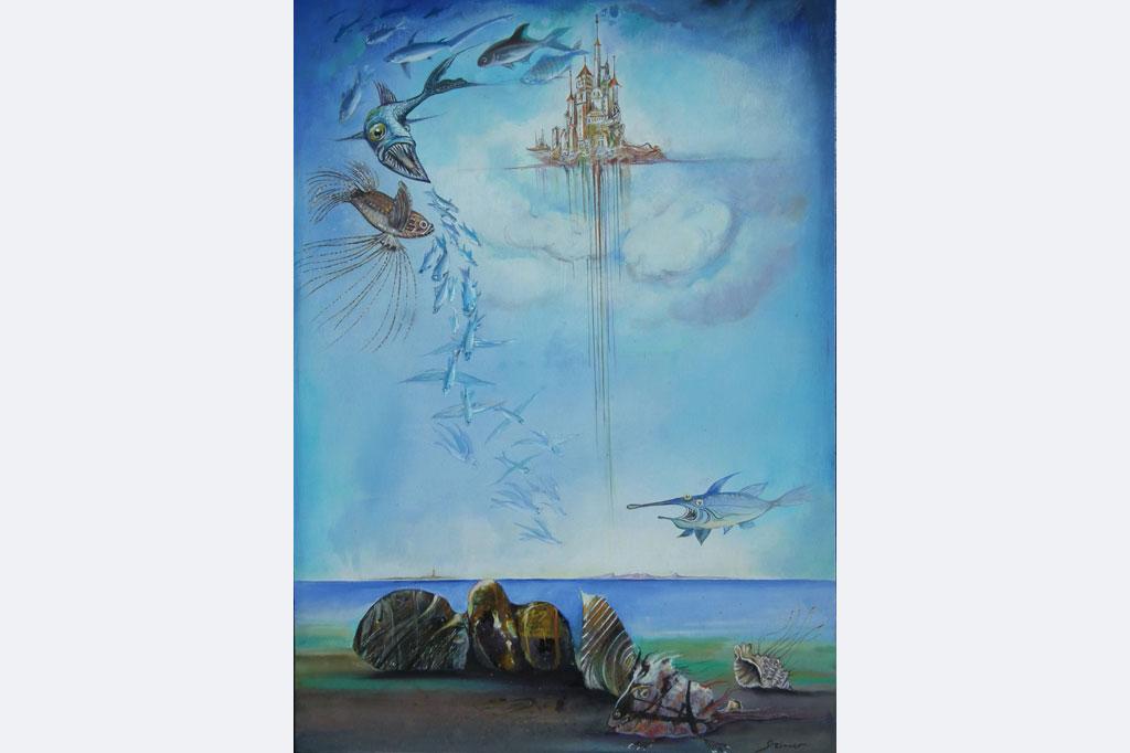 """Wolfgang Steiner, """"Invasion der Fische"""" 50 x 70 cm Öl 1.550,- € (mit Rahmen)"""