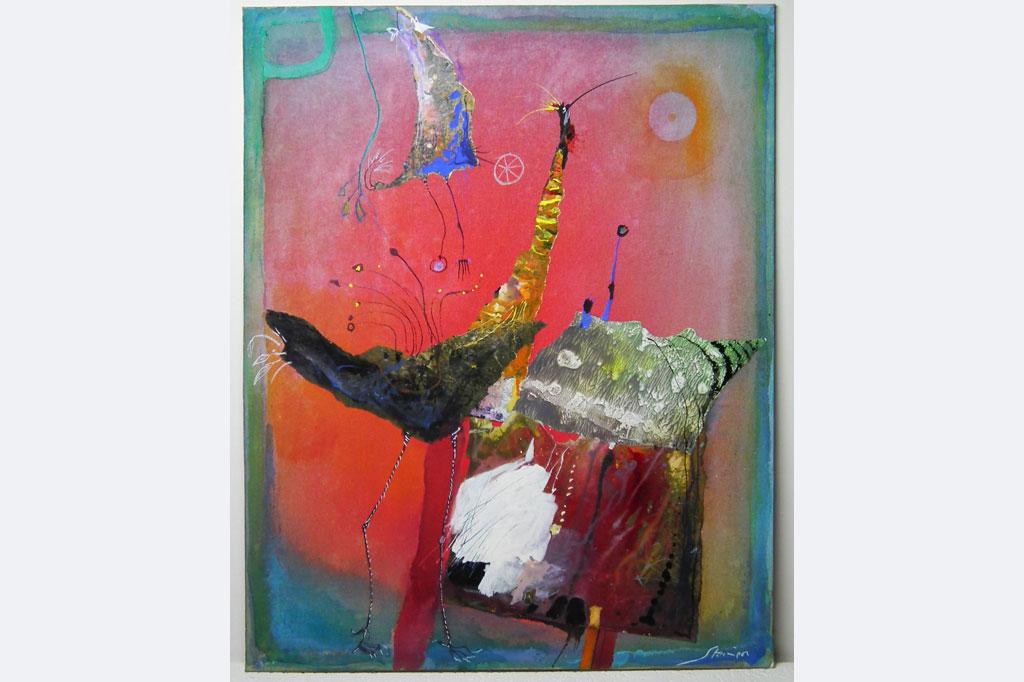 """Wolfgang Steiner, """"Hühner in der Coronazeit"""", Öl-Collage, 40 x 50 cm, 1.200 €, 0731-713884"""