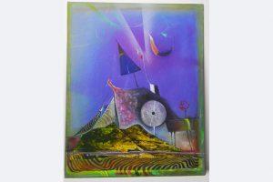 """Wolfgang Steiner, """"Landschaft im Gebirge"""", Öl-Collage, 40 x 50 cm, 1.200 €, 0731-713884"""