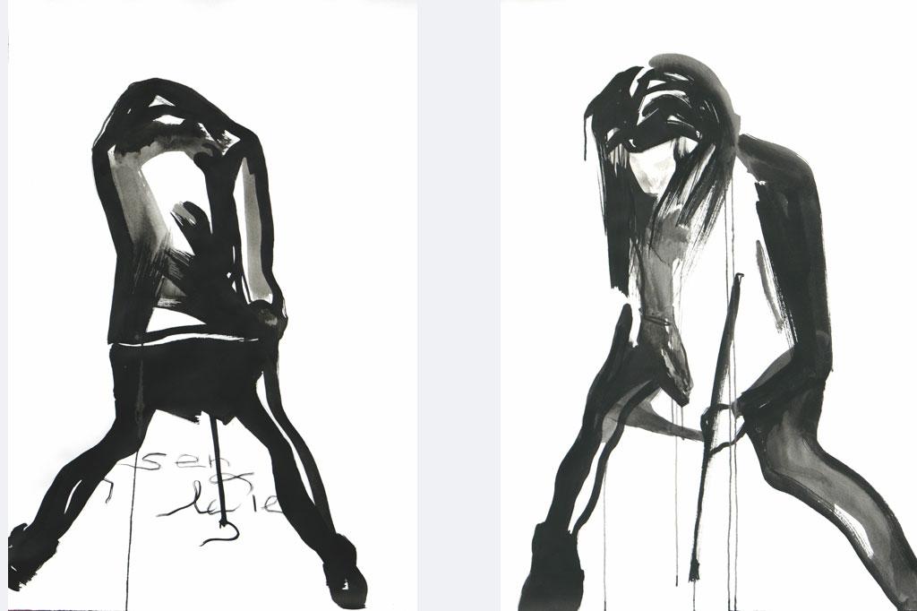 "Andrea Tiebel-Quast, 2 x Tusche auf Bütten "", 2017"