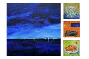 """Elke Traue, """"außerhäusig"""" (100x100) und 3 x """"innerhäusig"""" (30x30), Öl auf LW"""