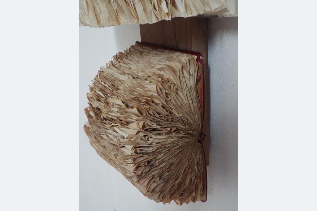 """Amanda Knapp, Wandinstallation, """"Versteckte Geschichten"""", 99 x 34 x 17 cm, Bücher, Lärchenholz"""