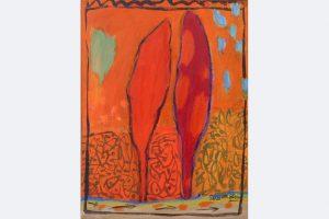 Marlis Glaser, 2020, Zypressen-Paar zu David und Jonathan, 40 x 30 cm, Öl-Lwd